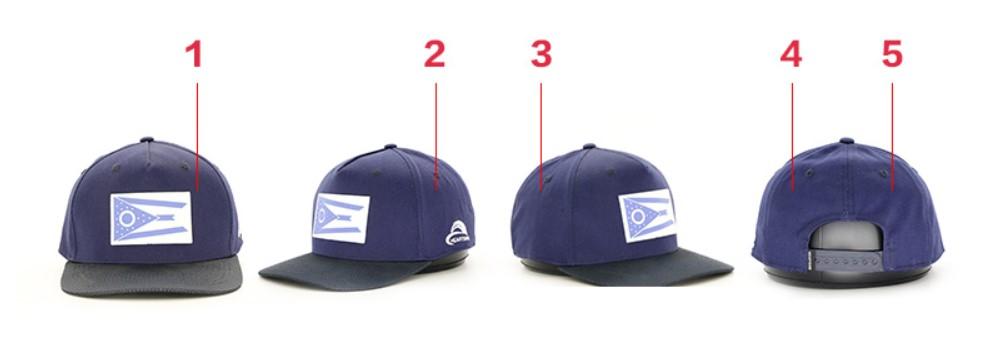 Nón kết 5 múi có phần trước nón (trước tráng) liền 1 mảng, giúp nhà sản xuất nón dễ in ấn & thêu các thiết kế họa tiết theo yêu cầu của khách đặt hàng.