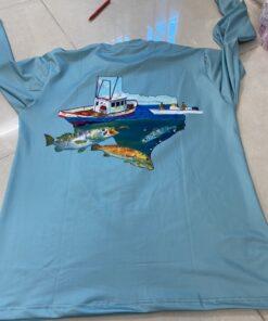 Áo Thun Co Giãn 4 Chiều - Mẫu Áo Thun Co Giãn 4 Chiều In FISHING TEXAS Theo Yêu Cầu Xuất Khẩu. 5