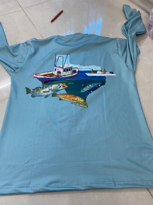 Áo Thun Co Giãn 4 Chiều - Mẫu Áo Thun Co Giãn 4 Chiều In FISHING TEXAS Theo Yêu Cầu Xuất Khẩu. 4