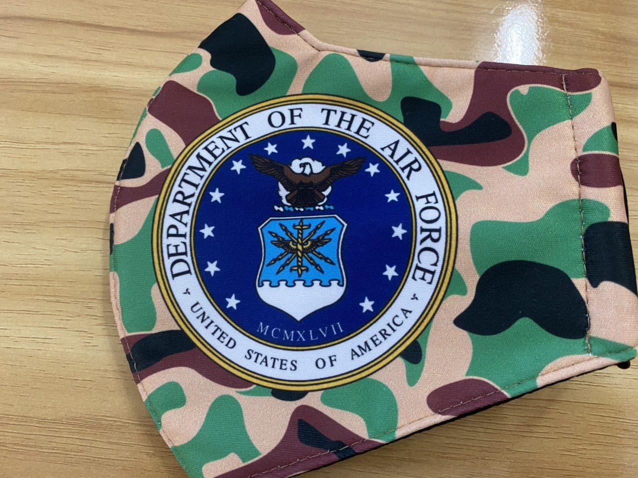 Khẩu Trang Vải In Logo Không Quân Mỹ 2 Lớp - Mẫu Khẩu Trang In 3D Logo  Của Lực Lượng Không Quân Mỹ  Nền Camo 6
